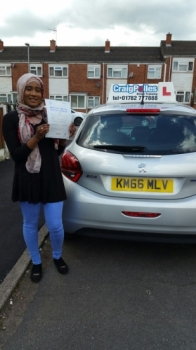 A big congratulations to Hafsa Etarghi Hafsa passed her driving test today at Cobridge Driving Test Centre with just 1 driver fault <br />