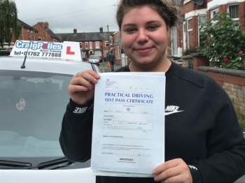 A big congratulations to Georgia Mohr, who has passed her driving test today at Crewe Driving Test Centre, with just 4 driver faults.<br />