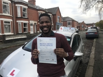 A big congratulations to Dr. Joachim Jimie, who has passed his driving test at Crewe Driving Test Centre.<br />