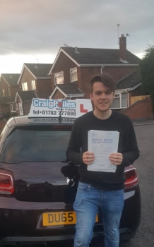 A big congratulations to James Moorehouse, who has passed his driving test today at Cobridge Driving Test Centre, at his First attempt and with just 1 driver fault.<br />