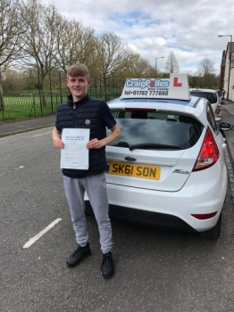 A big congratulations to Jordan Day, who has passed his driving test today at Cobridge Driving Test Centre, with just 2 driver faults.<br />