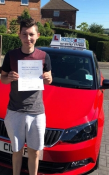 A big congratulations to Josh Griffiths, who has passed his driving test toady at Cobridge Driving Test Centre.<br />