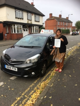 A big congratulations to Mrs Summaria Muneer Mrs Summaria passed her driving test at Cobridge Driving Test Centre with just 5 driver faults<br />