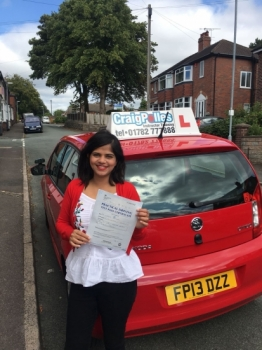 A big congratulations to Dr Cleofina Furtado, who has passed her driving test at Buxton Driving Test Centre.<br />
