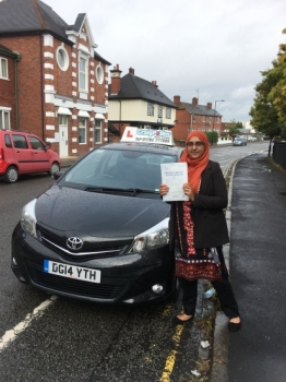 A big congratulations to Tanveez Akhtar, who has passed her driving test today at Cobridge Driving Test Centre,<br />