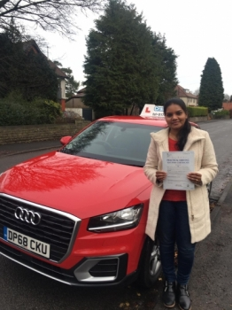 A big congratulations to Seetha Rinil, who has passed her driving test today at Buxton Driving Test Centre, on her First attempt and with 7 driver faults.<br />