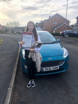 A big congratulations to Louisa Morley, who has passed her driving test today at Newcastle Driving Test Centre, on her First attempt and with just 4 driver faults.<br />
