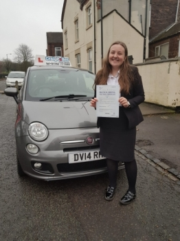 A big congratulations to Emily Long, who has passed her driving test today at Cobridge Driving Test Centre, with just 1 driver fault.<br />