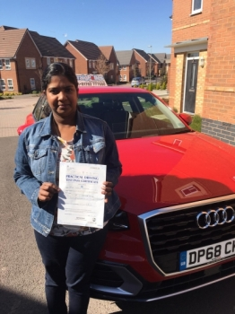 A big congratulations to Leena George, who has passed her driving test today at Newcastle Driving Test Centre, with just 6 driver faults.<br />