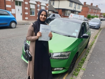 A big congratulations to Aisha Ali, who has passed her driving test today at Cobridge Driving Test Centre, on her First attempt and with just 3 driver faults.<br />