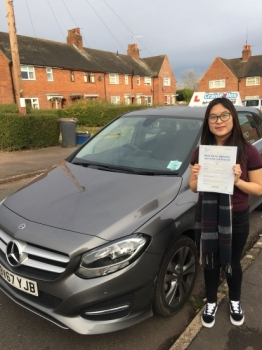 A big congratulations to Rebecca Yu. Rebecca passed her driving test today, at Newcastle Driving Test Centre and with just 3 driver faults.<br />
