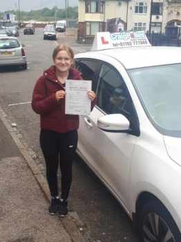 A big congratulations to Rebecca Hargreaves, who has passed her driving test today at Cobridge Driving Test Centre, on her First attempt and with just 1 driver fault.<br />