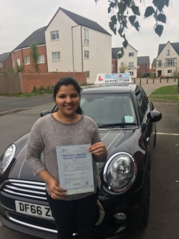 A big congratulations to Jisha Antony Jisha passed her driving test today at Newcastle Driving Test Centre and with just 7 driver faults<br />