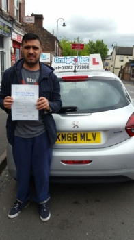A big congratulations to Sharif Khalily Sharif passed his driving test today at Cobridge Driving Test Centre first time and with just 6 driver faults <br />