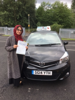 A big congratulations to Uzma Afsar Uzma passed her driving test at Newcastle Driving Test Centre with 9 driver faults<br />