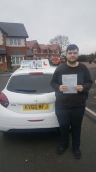 A big congratulations to George Bradley, who has passed his driving test at Cobridge Driving Test Centre, on his First attempt and with just 2 driver faults.<br />